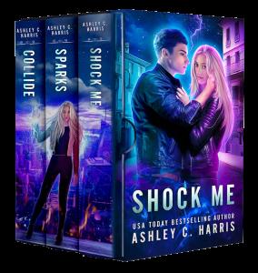 Shock Me (3D Boxset view) by Ashley C. Harris | Tour organized by XPresso Book Tours | www.angeleya.com